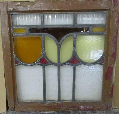 """OLD ENGLISH LEADED STAINED GLASS WINDOW Pleasant Fence Abstract 20"""" x 20"""""""