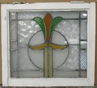 """OLD ENGLISH LEADED STAINED GLASS WINDOW Lovely Grandiose Floral 23"""" x 20.5"""""""