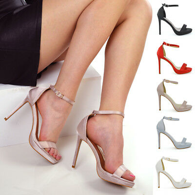 Womens Platforms High Heel Satin Ankle Strap Ladies Barely There Strappy Shoes