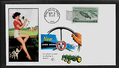 1954 John Deere Tractor & Pin Up Girl Featured on Collector's Envelope *A566