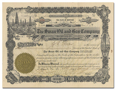 Swan Oil and Gas Company Stock Certificate (West Virginia, Kentucky)