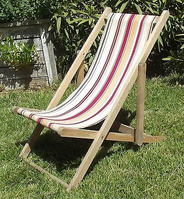Vintage French Deck Chair Childs Canvas Wood Fold out Beach Seat Garden Picnic