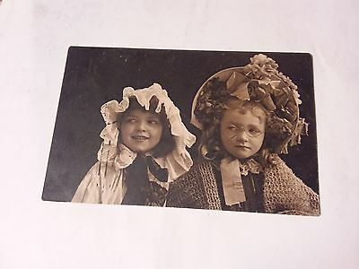 1911 Vintage Postcard - Two Girls With Hats - Russia