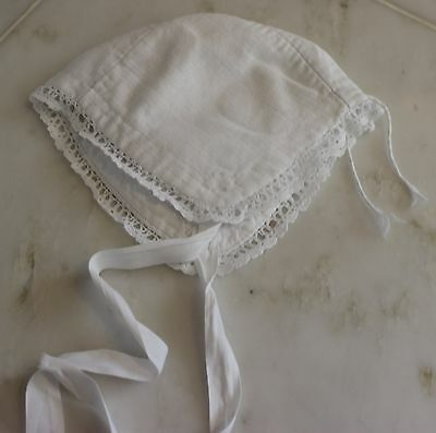 Antique White Cotton Baby's Cap with Ties Wonderful Condition or Doll Clothing