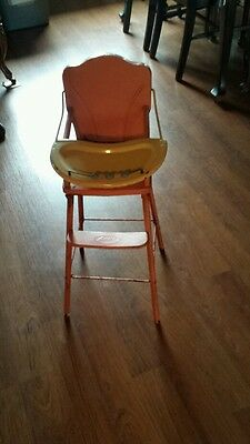 Amsco vintage metal pink doll high chair with tray & beads collectible