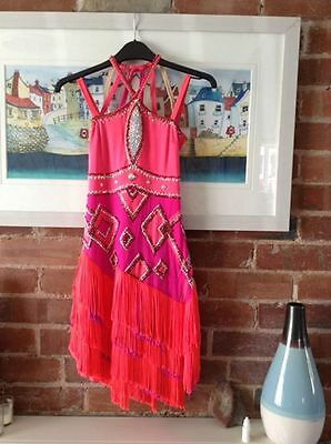 Ice skating dress coral & hot pink.  size 10