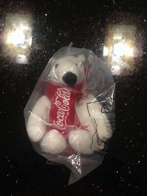 "Coca-cola Polar Bear Plush 4"" Tall Seated - New In Bag With Tag"
