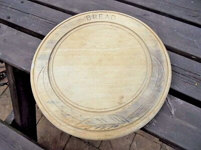 Vintage Wooden Bread Board With Carved Border From House Clearance