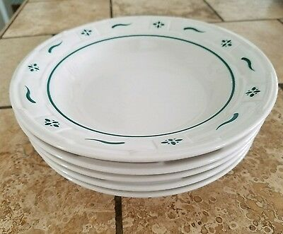 """5 Longaberger Pottery Woven Traditions Heritage Gree 8"""" Rimmed Soup/Salad Bowls"""