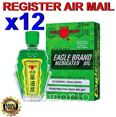 Eagle Brand Medicated Balm Oil Muscle Sprains dizzy Aches Pains Relief 24ml x 12