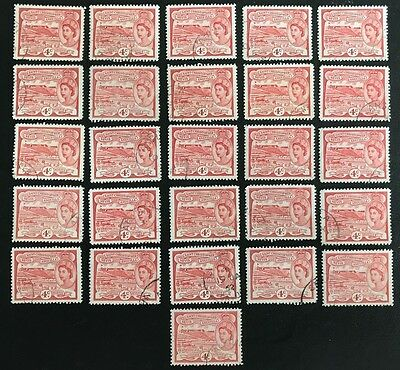 St Kitts-Nevis 1954 - SG110 4c. Red Brimstone Hill x 26