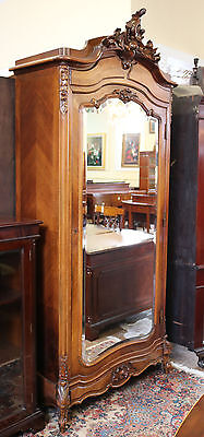 Gorgeous French Carved Walnut 1870s Louis XV Birds Eye Maple Armoire Bonnetier