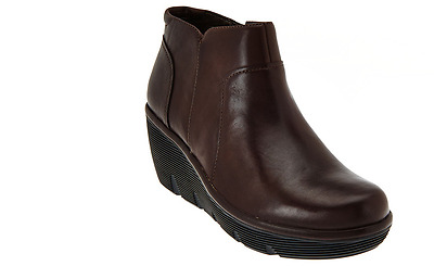d7740340abe Clarks Artisan Leather Wedge Ankle Boots - - Clarene Sun brown 11w new