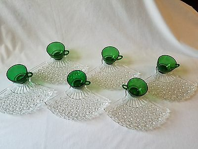 6 Sets Vintage Daisy and Button Clear Glass Fan Luncheon Plate with Green Cups