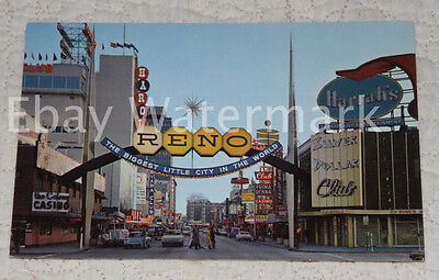RENO NEVADA NV Virginia Street Arch Daytime Vintage Chrome Postcard