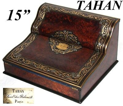 "Antique French signed TAHAN 15"" Writer's Box, Ecritoire, Burled & Brass Inlays"