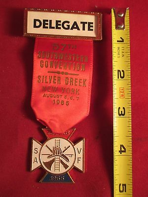 1965 Southwestern Ny Volunteer Firemen Convention Silver Creek Ribbon & Medal