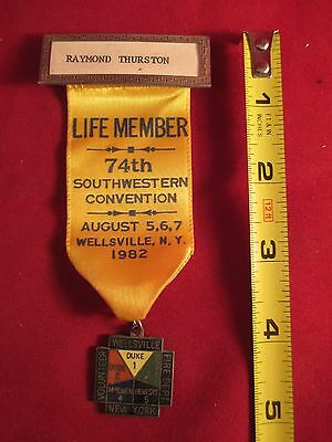 1982 S.w. Ny Volunteer Firemen Convention Wellsville Life Member Ribbon & Medal
