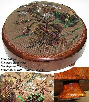 Lovely Antique Victorian Era Beaded Needlepoint Footstool, Floral Motif
