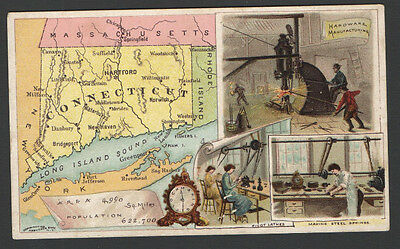 1889 Victorian Advertising Trade Card Arbuckle Coffee CONNECTICUT Pivot Lathes