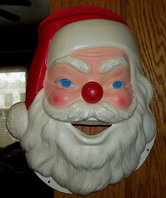 Vintage hard Plastic Santa Claus Face Head 10 3/4 Inch Pop Out Red Nose