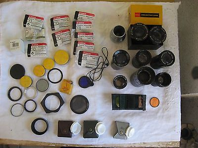 35 + Film Projector Lenses Adapter rings Dioptric Adjustment Lens Filters LOT