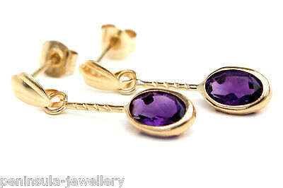 9ct Gold Amethyst Oval drop earrings Gift Boxed Made in UK
