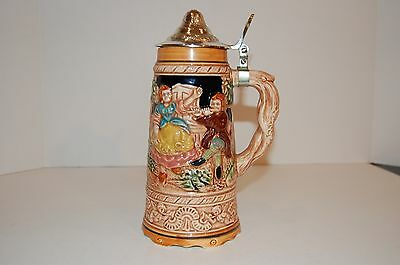 """Vintage Ceramic Lidded Musical Beer Stein Made in Fuji Japan stand 9"""" tall"""