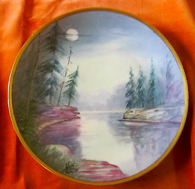 """Antique Pickard Bavaria  Artist Signed 8"""" Plate  Moon & PineTrees  gold edge"""