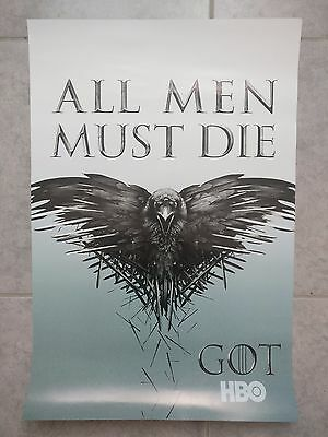 SDCC HBO GAME OF THRONES original promo poster 13.5 x 20 ALL MEN MUST DIE