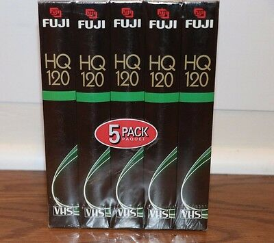 5 Pack (New Sealed) Fuji Hq 120 Blank Video Vhs Cassette Tapes Videotapes 6 Hour