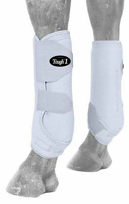 Tough-1 White Economy Vented Neoprene Size Medium Front Sport Boots Horse Tack