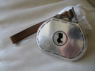Antique STERLING Silver Enamel Silhouette Woman Card Case Purse Compact HCB