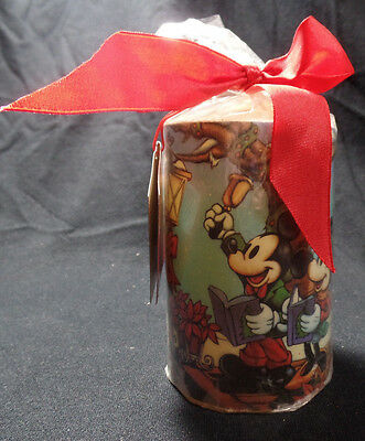 Disney Store Mickeys Season of Song Christmas Pillar Candle 4 1/2 in