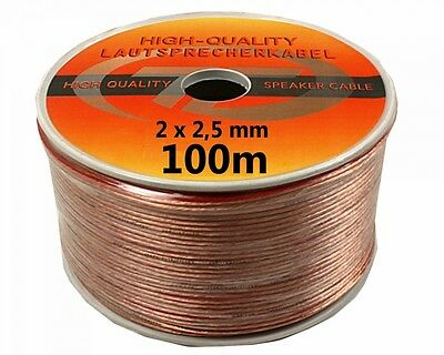 328ft 2 x 2,5mm² Speaker Cable Audio Box Car Hi-Fi Cable 0 1/8in