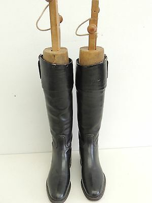 Antique Leather Riding Dressage Boots with Wood Forms