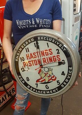1952 Hastings Piston Rings Advertising Clock ~ Convict Man ~ Works !