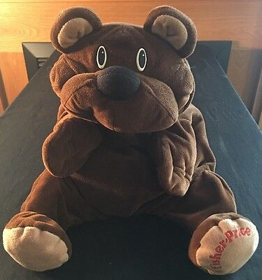 1993 Fisher Price Rumple Bear Plush Chocolate Dark Brown Floppy Stuffed Animal