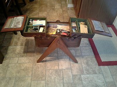 Vintage Wooden Sewing Box / Basket Stand zig zag open.LOADED WITH STUFF