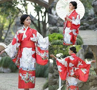 Red Women's Kimono Yukata Gown Japanese Floral Robe Haori Dress with Obi
