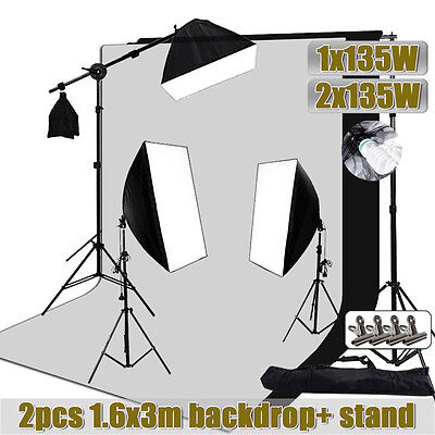 Photo Studio Softbox Continuous Lighting Soft Box Boom Arm Backdrop Stand Kit UK