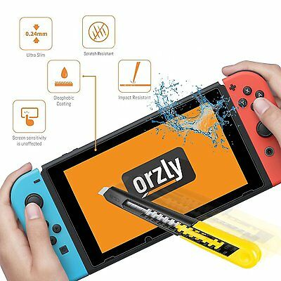 Screen Protector Nintendo Switch - Orzly Premium Tempered Glass Screen Protector