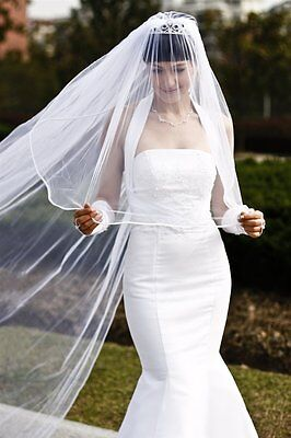 Bridal Wedding Veil Ivory 2 Tier Cathedral Length 1/8in Satin Ribbon Edge