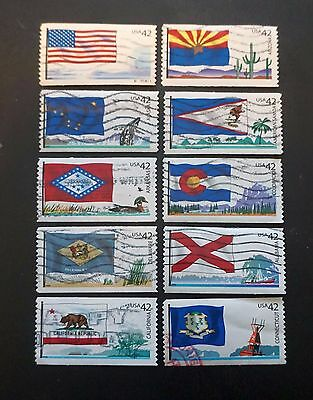 USA  UNITED STATES Sc# 4273-4282 Set of 10 STATE FLAGS   2008   used