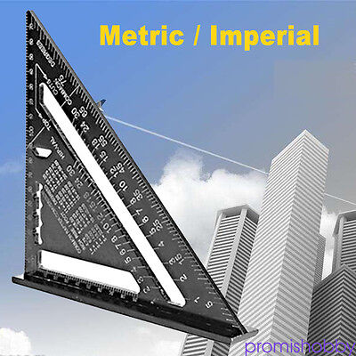 """7"""" Black ruler Metric system Aluminum Alloy Speed Square Roofing Triangle NSW"""