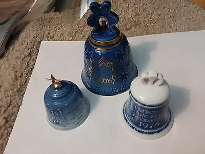 3 Christmas Annual Bells  - B & G  -  1976 ,1989 - 3 1/2 & 3 &  5  Inch