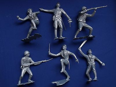 """Marx Wwii Japanese Soldiers Figures Recast 6"""" Different Positions Silver Color"""