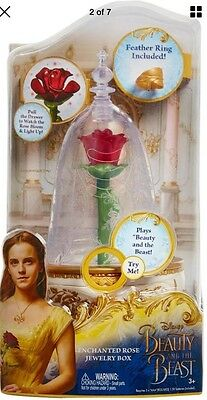 "Disney Beauty and the Beast LIGHT UP ""ENCHANTED ROSE"" Jewelry Box Brand New"