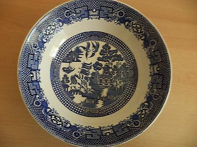 Old Vintage Blue & White China Willow Pattern Large Fruit Salad Bowl Woods Ware