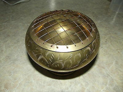 VINTAGE brass incense burner with grid ,herb resin charcoal burner [ india ]